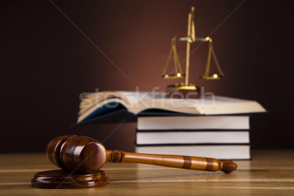 Photo stock: Justice · échelle · marteau · bois · droit · marteau
