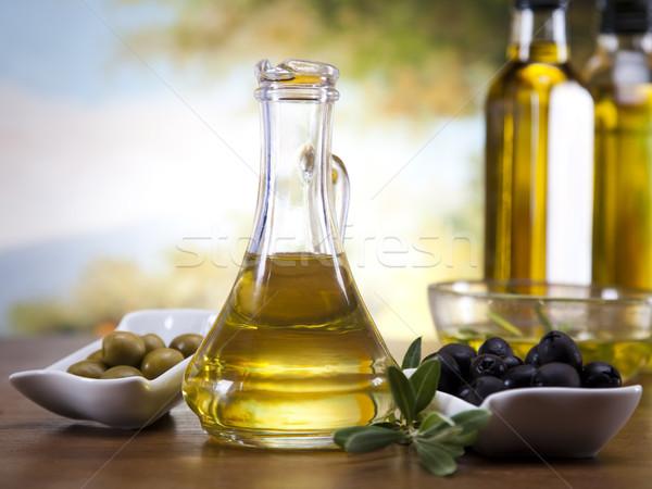 Olive oil and olives  Stock photo © JanPietruszka
