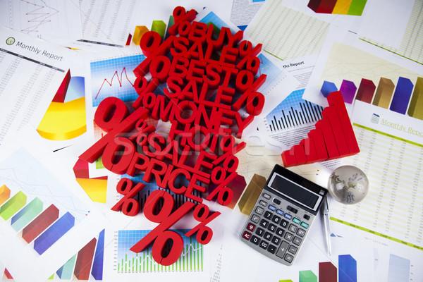 Percentage korting kleurrijk teken Rood financieren Stockfoto © JanPietruszka