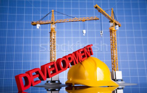 Construction plan grue jaune casque bâtiments Photo stock © JanPietruszka