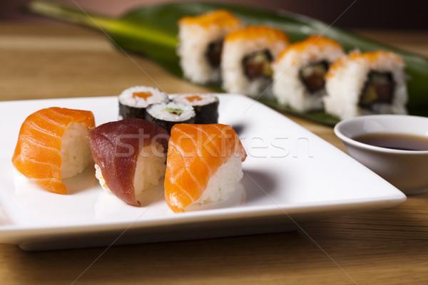традиционный японская еда суши рыбы морем ресторан Сток-фото © JanPietruszka