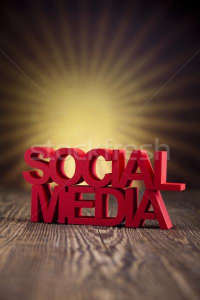 Közösségi média üzlet munka technológia telefon felirat Stock fotó © JanPietruszka