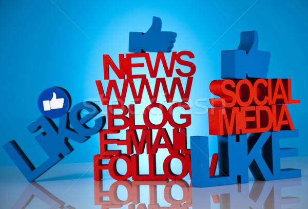 Közösségi média ikon szett üzlet munka technológia telefon Stock fotó © JanPietruszka