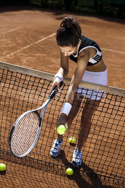Fiatal nő teniszező bíróság nő élet fiatal Stock fotó © JanPietruszka