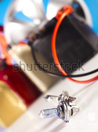 Car battery with two jumper cables clipped on vivid moto concept Stock photo © JanPietruszka