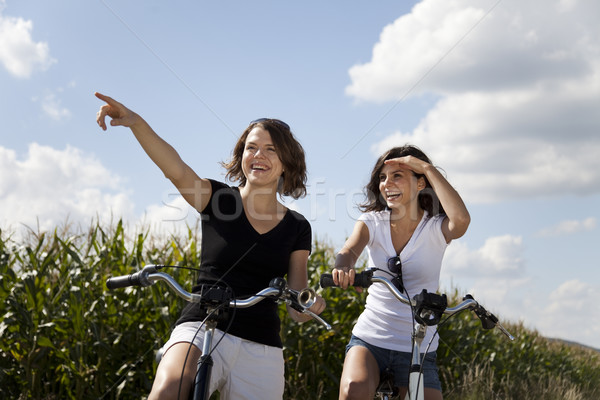 Stock photo: Woman bike, summer free time spending