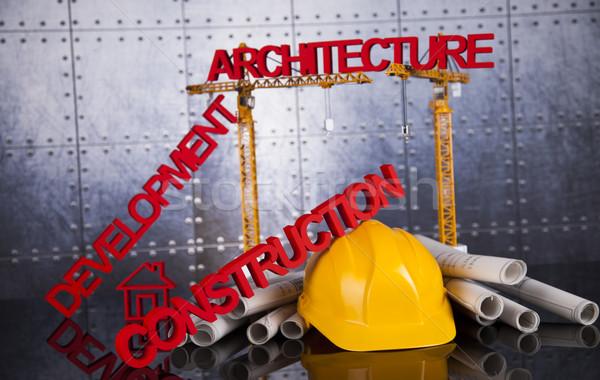 建設現場 クレーン 青写真 建物 建設 ビジネス ストックフォト © JanPietruszka