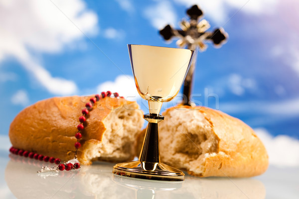 Christian święty komunii jasne Jezusa chleba Zdjęcia stock © JanPietruszka