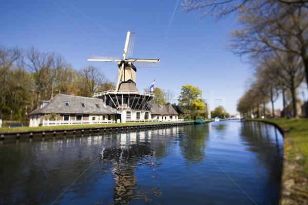 Holandês moinho de vento Holanda velho holandês céu Foto stock © JanPietruszka