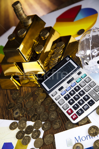 Piramide goud bars zonsondergang metaal financieren Stockfoto © JanPietruszka