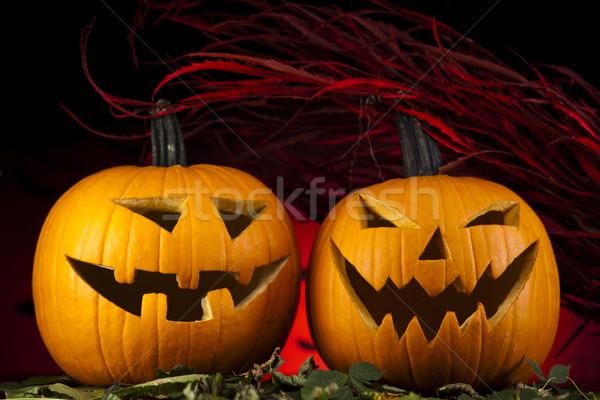 Ijesztő halloween tök szemek háttér űr gyertya Stock fotó © JanPietruszka