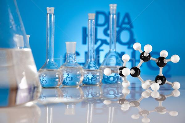 Stock fotó: Laboratórium · üveg · kémia · tudomány · képlet · gyógyszer
