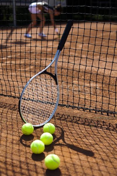 Sport teniszütő golyók háttér játék játék Stock fotó © JanPietruszka