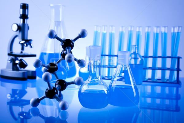Chimica laboratorio cristalleria tecnologia vetro blu Foto d'archivio © JanPietruszka