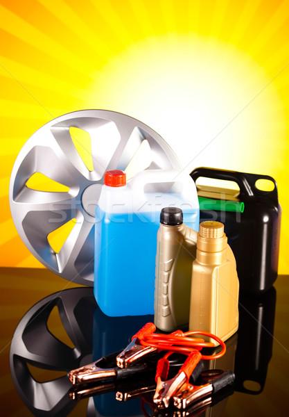 Set of auto parts, car battery on vivid moto concept Stock photo © JanPietruszka