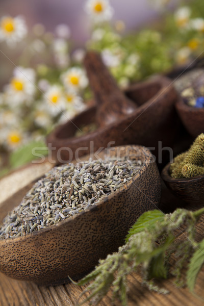 Natural medicine, wooden table background Stock photo © JanPietruszka