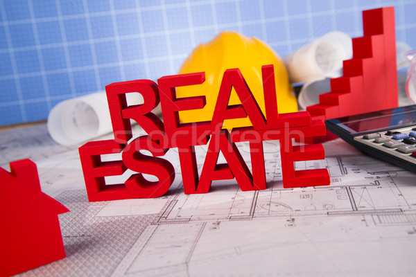 Real estate with house model and achitectural drawing Stock photo © JanPietruszka