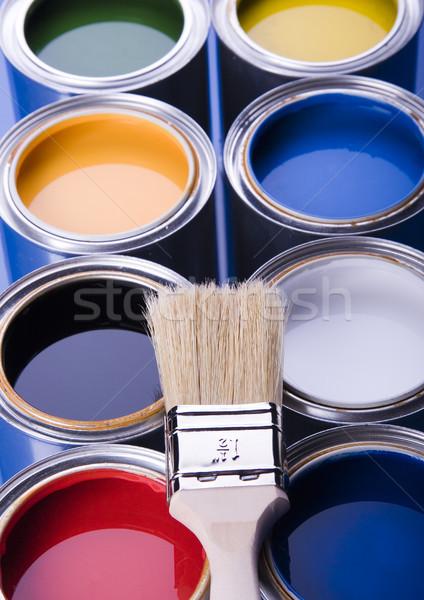 Stok fotoğraf: Boya · fırçalamak · parlak · renkli · ev · soyut