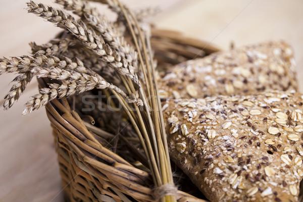 Vidéki bioélelmiszer étel háttér kenyér vacsora Stock fotó © JanPietruszka