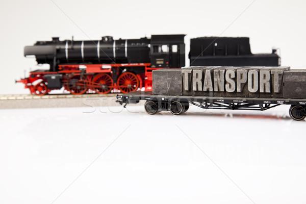 Trein heldere kleurrijk speelgoed model groep Stockfoto © JanPietruszka