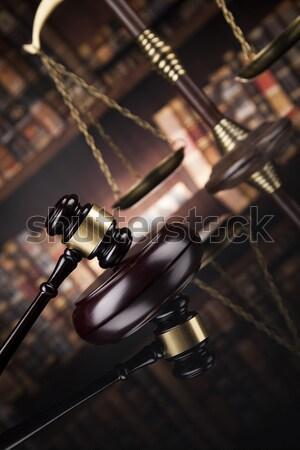 Photo stock: Droit · bois · marteau · blanche · juge · tribunal