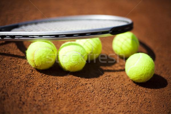Teniszütő golyók bíróság háttér játék játék Stock fotó © JanPietruszka