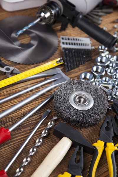 Working tools on wooden background Stock photo © JanPietruszka