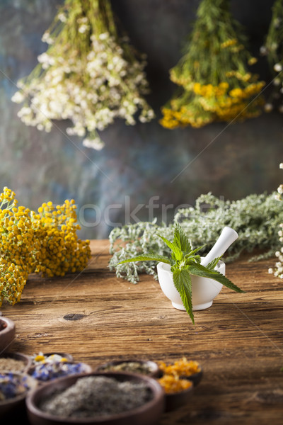Herbs medicine,Natural remedy and mortar on vintage wooden desk  Stock photo © JanPietruszka