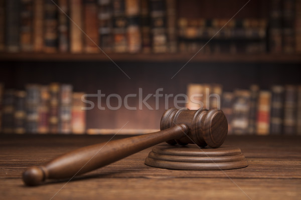Law and justice concept, Brown wooden background Stock photo © JanPietruszka