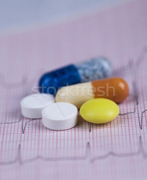 Gyógyszer egészséges közelkép kapszulák orvosi fehér Stock fotó © JanPietruszka