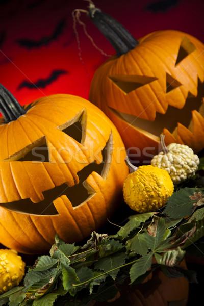 Funny twarzy dynia halloween oczy tle przestrzeni Zdjęcia stock © JanPietruszka