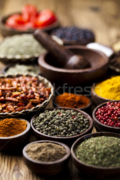 Stock photo: Assorted Spices, orintal cuisine vivid theme