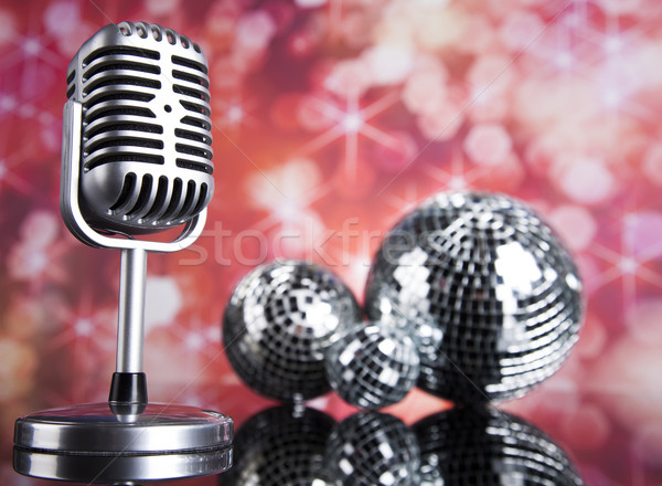 Estilo retro microfone soar ondas discoteca Foto stock © JanPietruszka
