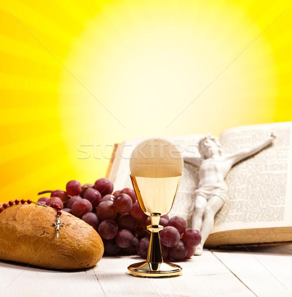 Keresztény szent úrvacsora fényes könyv Jézus Stock fotó © JanPietruszka