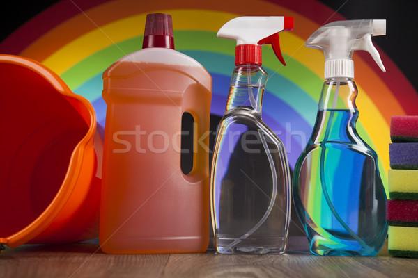 Productos de limpieza establecer casa ventana grupo botella Foto stock © JanPietruszka