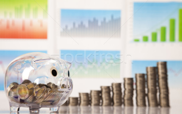 Piggy bank moedas diagrama caixa financiar porco Foto stock © JanPietruszka
