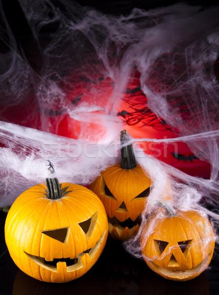 Halloween tök pókháló szemek háttér narancs űr Stock fotó © JanPietruszka