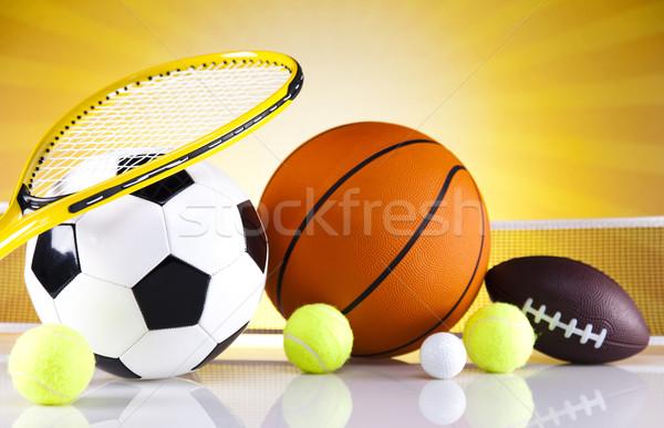 Artículos deportivos golf fútbol deporte tenis béisbol Foto stock © JanPietruszka