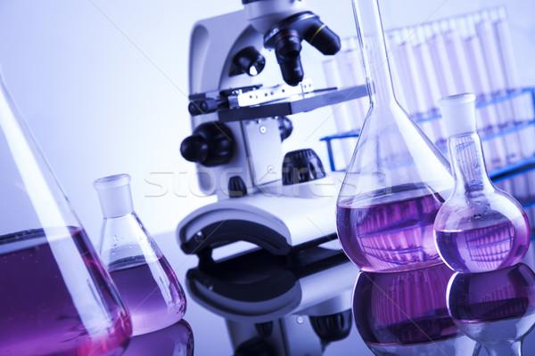 Laboratory work place with microscope and glassware Stock photo © JanPietruszka
