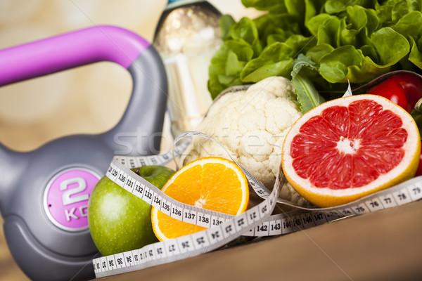 Frische Lebensmittel Maßnahme Ernährung Fitness Sport Stock foto © JanPietruszka