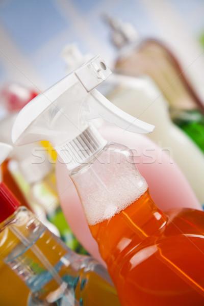 Pencere temizlik ev grup şişe Stok fotoğraf © JanPietruszka