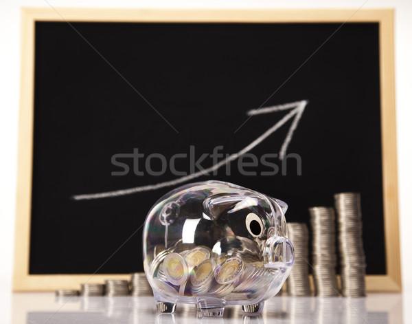 Photo stock: Tirelire · pièces · diagramme · boîte · Finance · porc