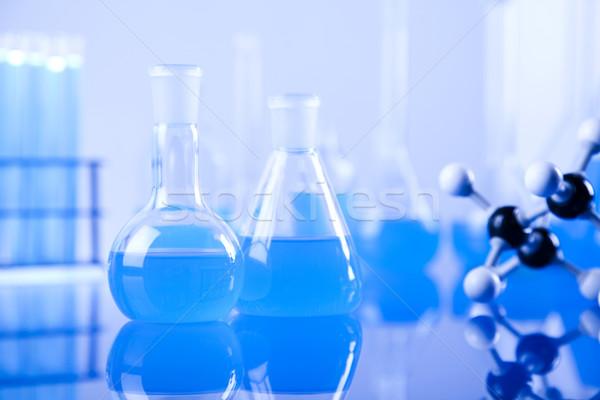 Laboratório artigos de vidro tecnologia vidro azul indústria Foto stock © JanPietruszka