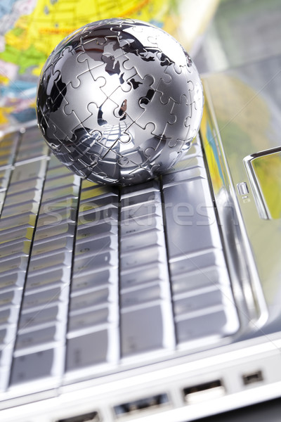 Stock fotó: Kék · bolygó · modern · hálózat · szimbólumok · üzletember