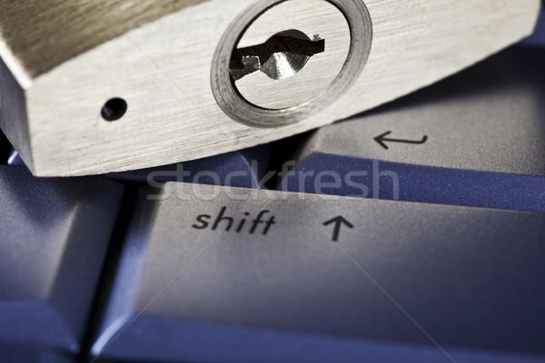 Ordinateur portable cadenas chrome couleurs affaires portable Photo stock © JanPietruszka