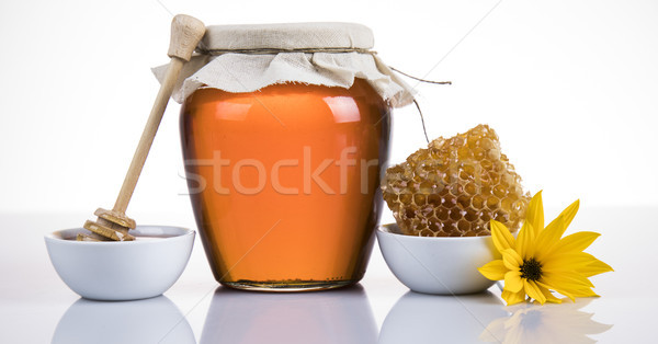 Dolce miele montagna bottiglia oro dessert Foto d'archivio © JanPietruszka