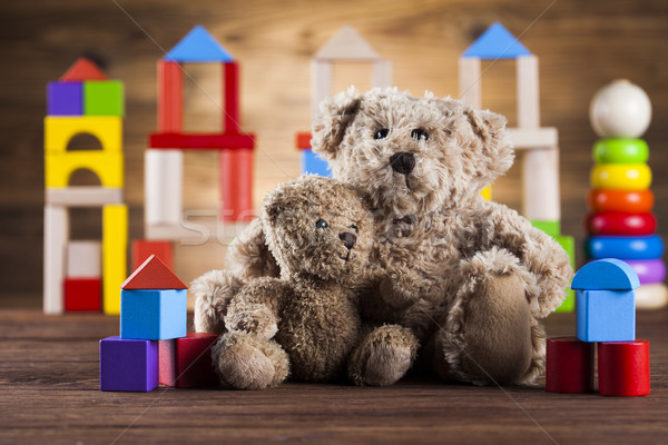 Baby World toy collection on on wooden background Stock photo © JanPietruszka