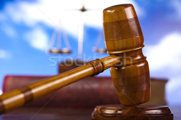 Justicia madera ley martillo blanco juez Foto stock © JanPietruszka