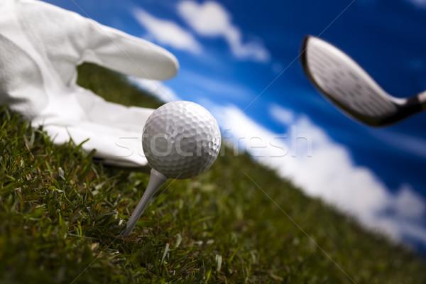Kéz golflabda naplemente gyep életstílus legelő Stock fotó © JanPietruszka