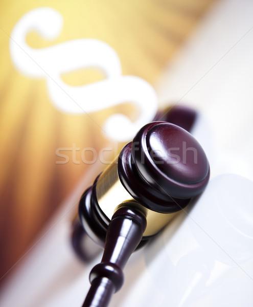 Recht Gerechtigkeit Absatz Skalen Holz Rechtsanwalt Stock foto © JanPietruszka